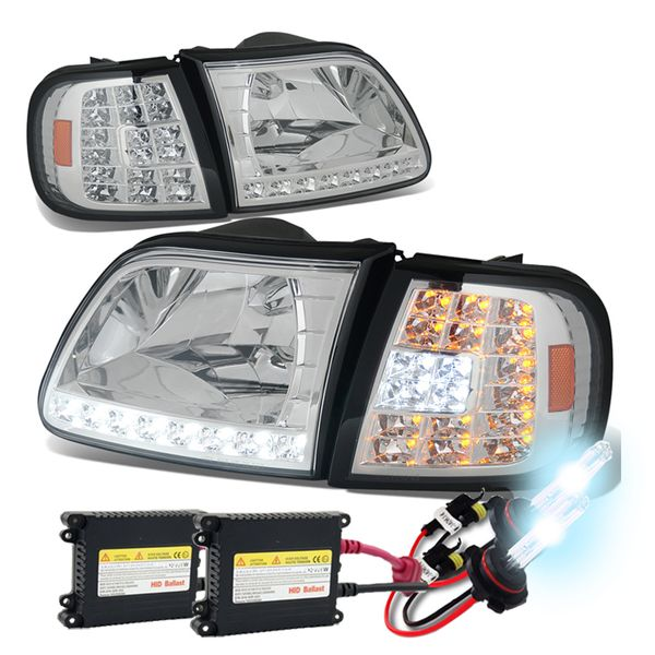 HID Xenon + 97-03 Ford F150 / Expedition LED DRL (LED Signal) Crystal Headlights Set - Chrome
