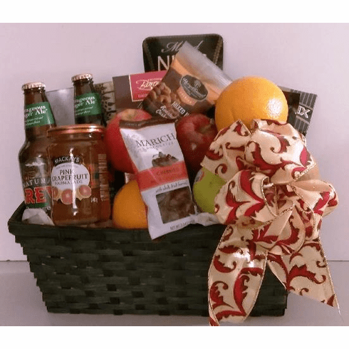 Men Beer Gift Basket Fruits Nuts and Cheese