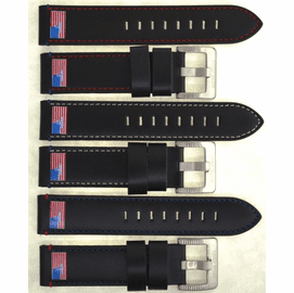 22MM GENUINE LEATHER �USA FLAG� DESIGN SMOOTH BLACK STRAP