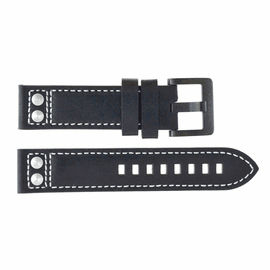 22mm Pilots Leather Strap with SS or PVD Rivets and  Buckle