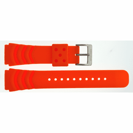 "22mm Silicon Vent Orange Dive Strap ""Deep Blue"" Logo on buckle"