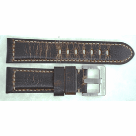 24MM GENUINE LEATHER PADDED DISTRESSED VINTAGE BROWN 24/22