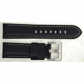 24MM GENUINE LEATHER PADDED SMOOTH BLACK  24/22