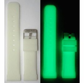 "24mm White Silicon Strap ""Luminous"" Strap 130/75"