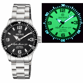 ALPHA MARINE AUTOMATIC BLACK WHITE CERAMIC LUMINOUS BEZEL FULL LUME BLACK DIAL