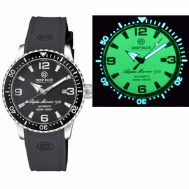 ALPHA MARINE AUTOMATIC BLACK/WHITE CERAMIC LUMINOUS BEZEL FULL LUME BLACK DIAL