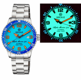 ALPHA MARINE AUTOMATIC BLUE WHITE CERAMIC LUMINOUS BEZEL FULL LUME BLUE ORANGE  DIAL