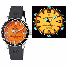 ALPHA MARINE AUTOMATIC BLACK WHITE CERAMIC LUMINOUS BEZEL FULL LUME ORANGE DIAL