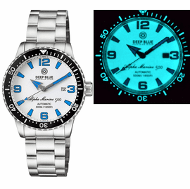 ALPHA MARINE AUTOMATIC BLACK WHITE CERAMIC LUMINOUS BEZEL FULL LUME WHITE BLUE� DIAL