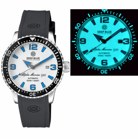 ALPHA MARINE AUTOMATIC BLACK/WHITE CERAMIC LUMINOUS BEZEL FULL LUME WHITE/BLUE DIAL
