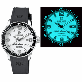 ALPHA MARINE AUTOMATIC BLACK/WHITE CERAMIC LUMINOUS BEZEL FULL LUME WHITE DIAL