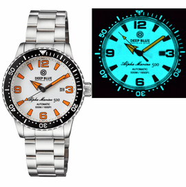 ALPHA MARINE AUTOMATIC BLACK WHITE CERAMIC LUMINOUS BEZEL FULL LUME WHITE ORANGE� DIAL