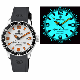 ALPHA MARINE AUTOMATIC BLACK/WHITE CERAMIC LUMINOUS BEZEL FULL LUME WHITE/ORANGE DIAL