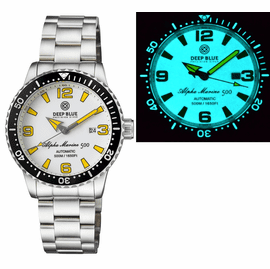 ALPHA MARINE AUTOMATIC BLACK WHITE CERAMIC LUMINOUS BEZEL FULL LUME WHITE YELLOW DIAL
