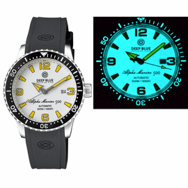 ALPHA MARINE AUTOMATIC BLACK/WHITE CERAMIC LUMINOUS BEZEL FULL LUME WHITE/YELLOW DIAL