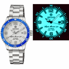 ALPHA MARINE AUTOMATIC BLUE WHITE CERAMIC LUMINOUS BEZEL FULL LUME WHITE DIAL