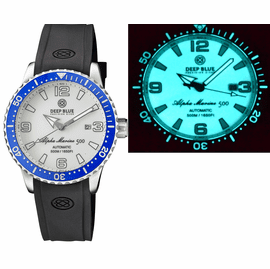 ALPHA MARINE AUTOMATIC BLUE/WHITE CERAMIC LUMINOUS BEZEL FULL LUME WHITE DIAL