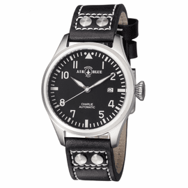 CHARLIE AUTOMATIC  STAINLESS CASE BLACK WHITE  DIAL