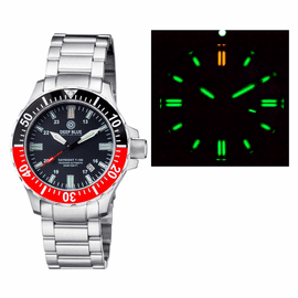 DAYNIGHT 41 TRITDIVER T-100 TRITIUM TUBES AUTOMATIC BLACK / RED  BEZEL- BLACK DIAL