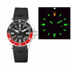 DAYNIGHT 41 TRITDIVER T-100 TRITIUM TUBES AUTOMATIC BLACK/RED BEZEL - BLACK DIAL