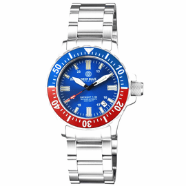 DAYNIGHT 41 TRITDIVER T-100 TRITIUM TUBES AUTOMATIC BLUE / RED  BEZEL- BLUE DIAL