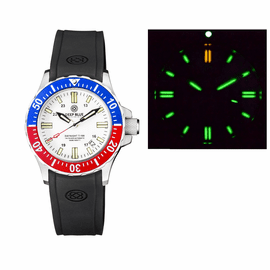 DAYNIGHT 41 TRITDIVER T-100 TRITIUM TUBES AUTOMATIC BLUE/RED  BEZEL - WHITE DIAL