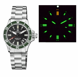 DAYNIGHT 41 TRITDIVER T-100 TRITIUM TUBES   AUTOMATIC GREEN  BEZEL- BLACK  DIAL