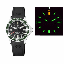 DAYNIGHT 41 TRITDIVER T-100 TRITIUM TUBES AUTOMATIC GREEN BEZEL - BLACK DIAL