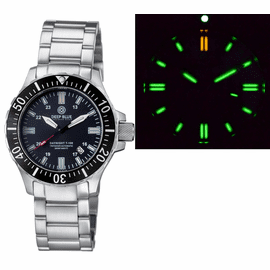 DAYNIGHT 45  TRITDIVER T-100 AUTOMATIC BLACK CERAMIC BEZEL- BLACK DIAL