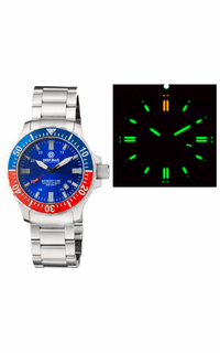 DAYNIGHT 45 TRITDIVER T-100 AUTOMATIC BLUE/RED BEZEL- BLUE DIAL