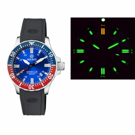 DAYNIGHT 45 TRITDIVER T-100 AUTOMATIC BLUE/RED CERAMIC BEZEL- BLUE DIAL