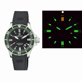 DAYNIGHT 45 TRITDIVER T-100 AUTOMATIC GREEN CERAMIC BEZEL - BLACK DIAL