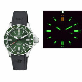 DAYNIGHT 45 TRITDIVER T-100 AUTOMATIC GREEN CERAMIC BEZEL - GREEN DIAL