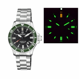 DAYNIGHT 45 TRITDIVER T-100 TRITIUM TUBES  AUTOMATIC GREEN  BEZEL- BLACK  DIAL