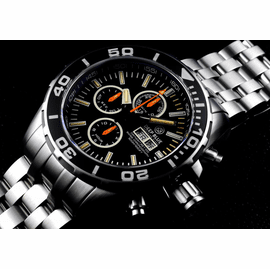 Daynight 65 T-100 Tritium Automatic Swiss Chronograph- Black Dial