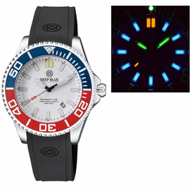 DAYNIGHT COMMANDER T-100 AUTOMATIC BLUE/RED BEZEL - WHITE  DIAL STRAP