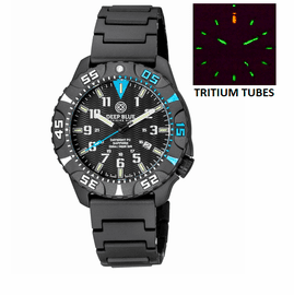 DAYNIGHT DIVER PC TRITIUM WATCH BLACK/BLUE BEZEL - BLACK DIAL BRACELET