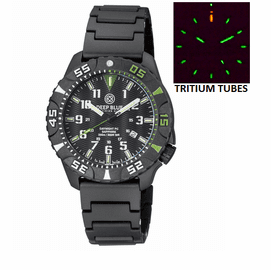 DAYNIGHT DIVER PC TRITIUM WATCH BLACK/GREEN BEZEL - BLACK DIAL BRACELET