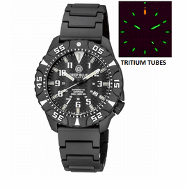 DAYNIGHT DIVER PC TRITIUM WATCH BLACK/WHITE BEZEL - BLACK DIAL BRACELET