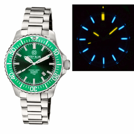 DAYNIGHT  DIVER TRITIUM T-100  AUTOMATIC BRACELET  � SS GREEN CERAMIC BEZEL GREEN DIAL   DIVER