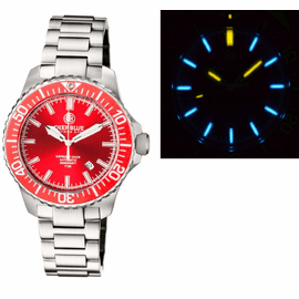 DAYNIGHT  DIVER TRITIUM T-100  AUTOMATIC BRACELET  � SS RED CERAMIC BEZEL RED DIAL
