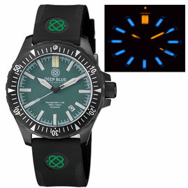 DAYNIGHT MIL T-100 TRITIUM BLUE  TUBES- BLACK PVD CASE /  GREEN DIAL