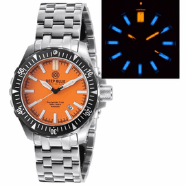 DAYNIGHT MIL T100  TRITIUM BLUE FLAT TUBES- ORANGE DIAL BRACELET