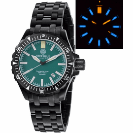 DAYNIGHT MIL T100  TRITIUM BLUE FLAT TUBES - PVD CASE / GREEN DIAL BRACELET