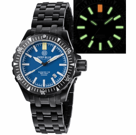 DAYNIGHT MIL T100  TRITIUM GREEN FLAT TUBES - PVD CASE /  BLUE DIAL BRACELET