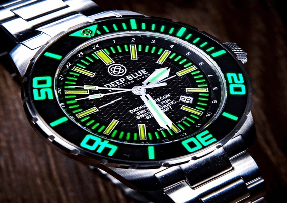 DAYNIGHT RECON GMT TRITIUM T-100 SWISS AUTOMATIC DIVER
