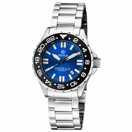 DAYNIGHT RESCUE GMT T-100 SWISS AUTO SELLITA SW-330-1 BLACK BEZEL/BLUE DIAL/WHITE HANDS