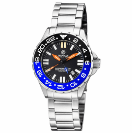 DAYNIGHT RESCUE GMT T-100 SWISS AUTO SELLITA SW-330-1 BLACK-BLUE BEZEL/BLACK DIAL/ORANGE HANDS