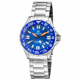 DAYNIGHT RESCUE GMT T-100 SWISS AUTO SELLITA SW-330-1 BLUE BEZEL/BLUE DIAL/ORANGE HANDS