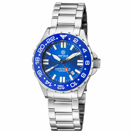 DAYNIGHT RESCUE GMT T-100 SWISS AUTO SELLITA SW-330-1 BLUE BEZEL/BLUE DIAL/WHITE HANDS - RED  GMT HAND